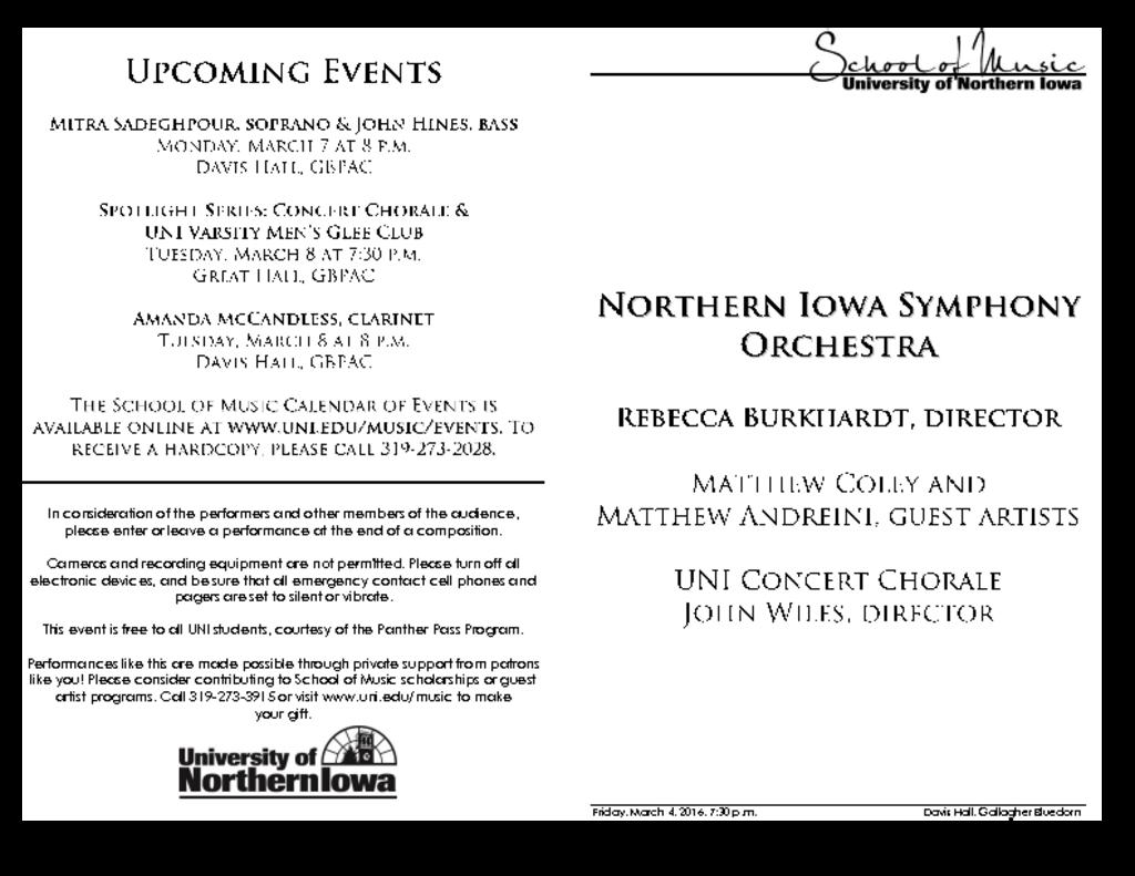 Northern Iowa Symphony Orchestra - March 4, 2016