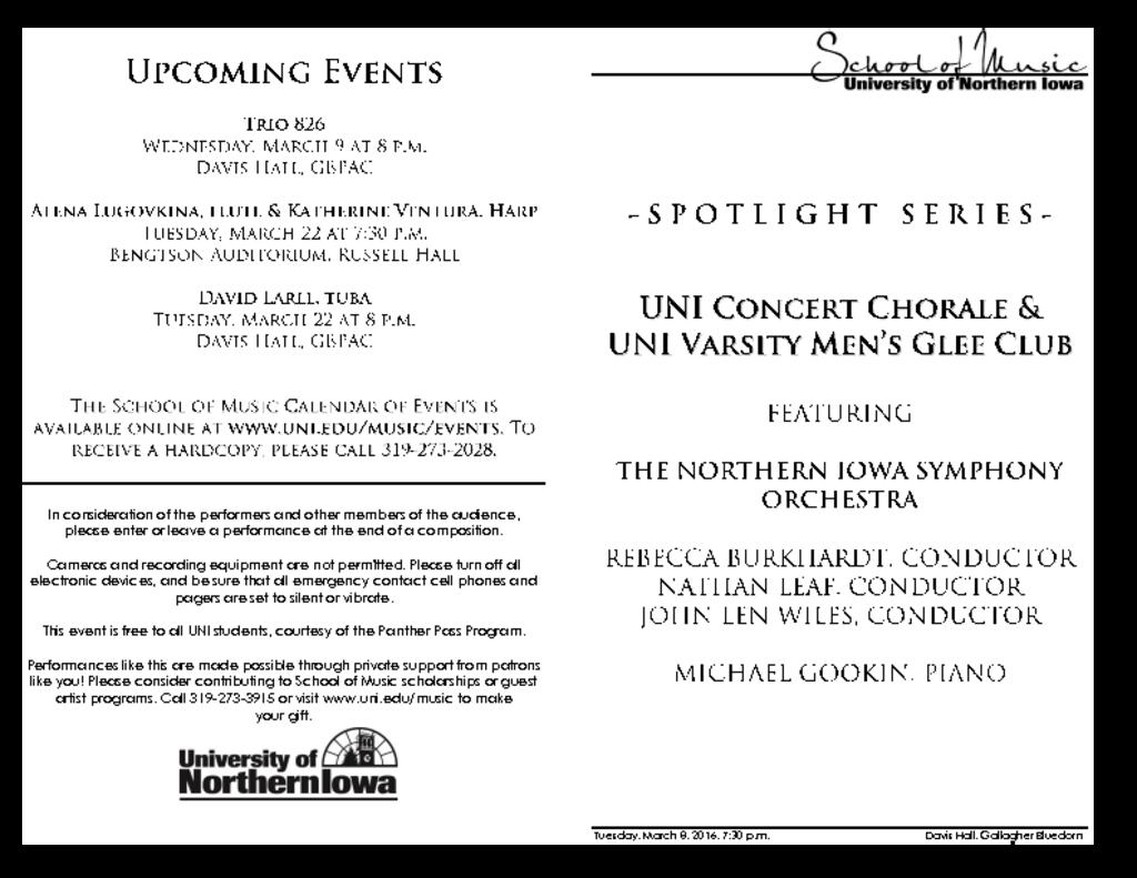 Concert Chorale and Men's Glee Club - March 8, 2016