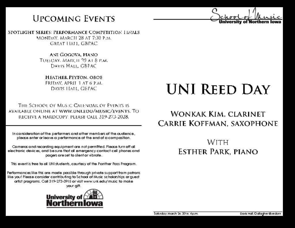 UNI Reed Day #1 - March 26, 2016
