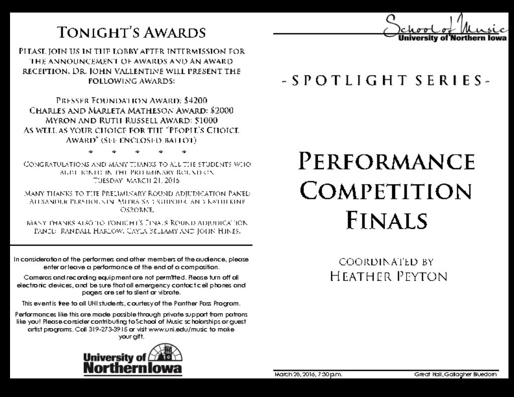 Performance Competition Finals - March 28, 2016