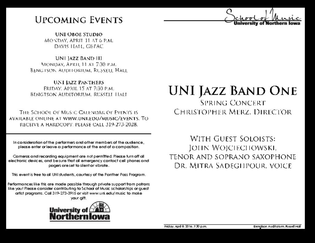 Jazz Band One - April 8, 2016