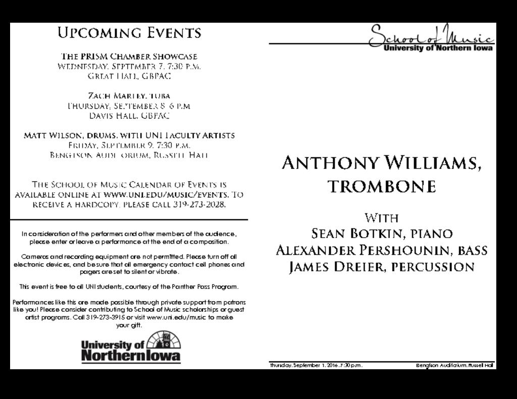 Anthony Williams, trombone - September 1, 2016