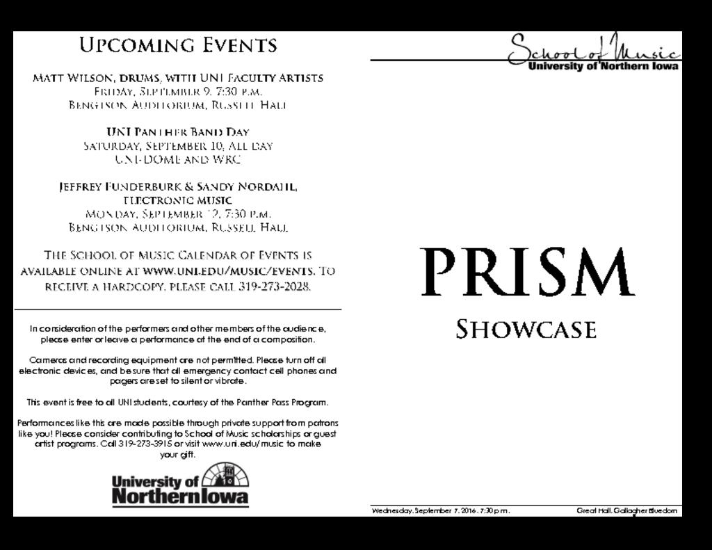 PRISM Chamber Showcase - September 7, 2016