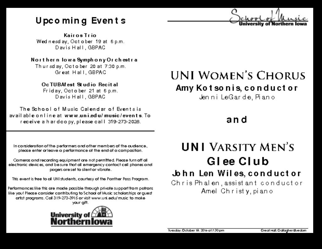 Women's Chorus & Glee Club - October 18, 2016