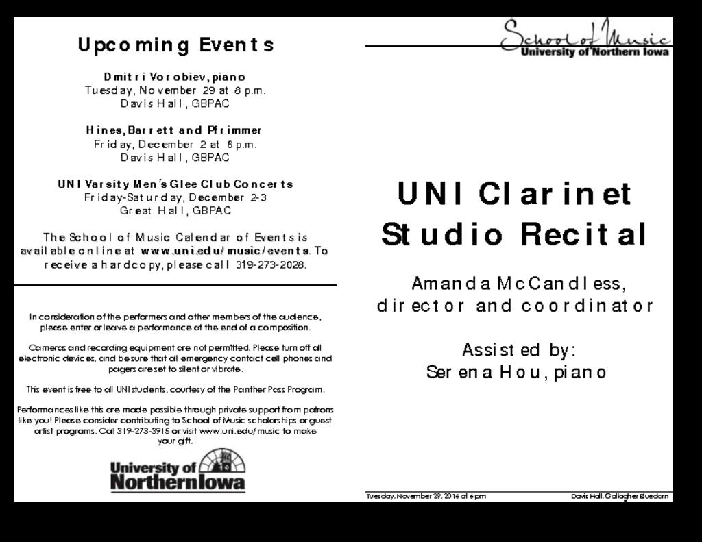 Clarinet Studio Recital - November 29, 2016