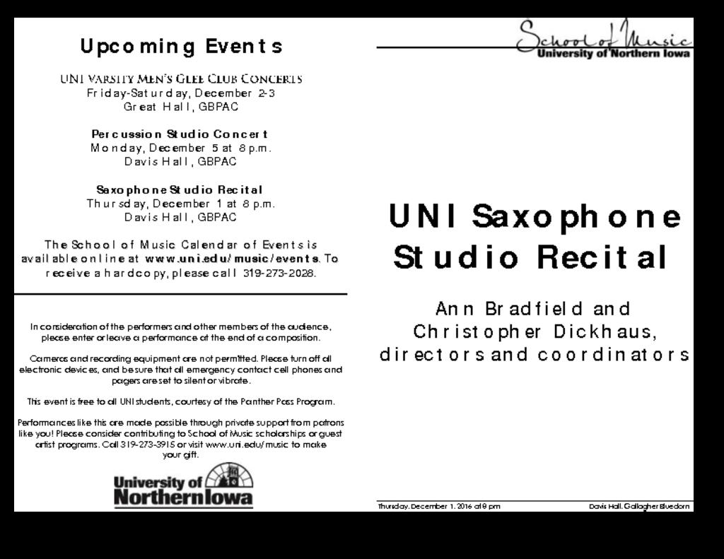 Saxophone Studio Recital - December 1, 2016