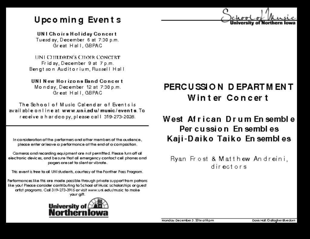 Percussion Studio Recital - December 5, 2016