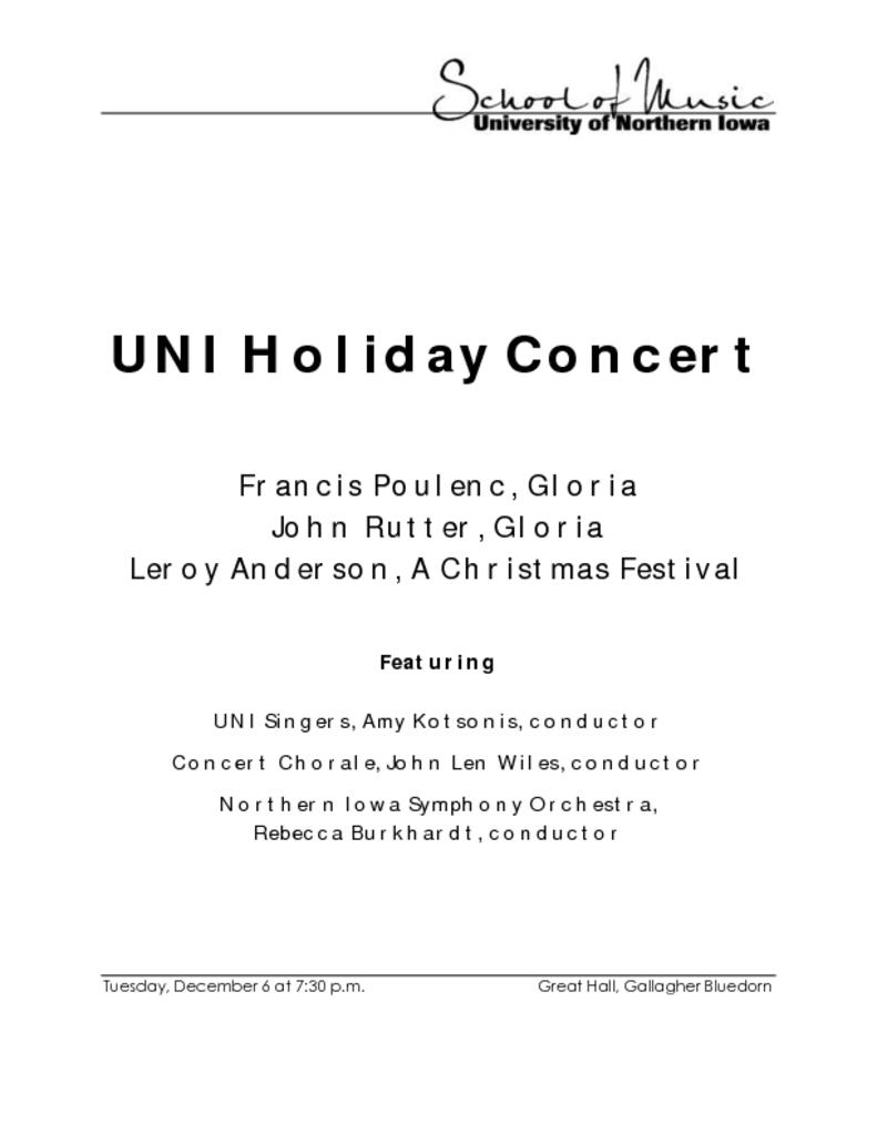 Holiday Choirs Concert - December 6, 2016