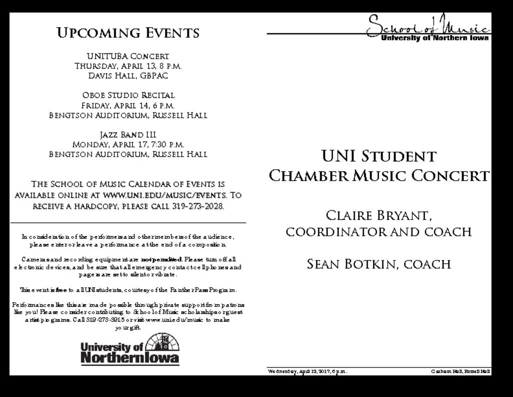 Student Chamber Music Recital - April 12, 2017