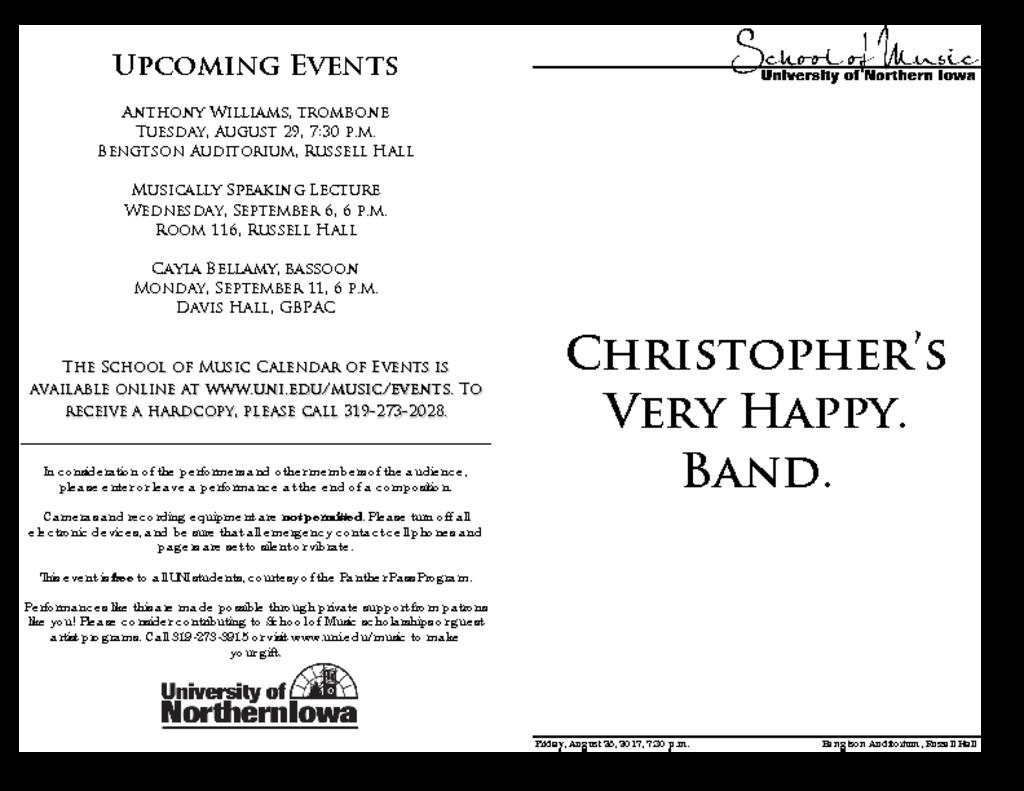 Christopher's Very Happy. Band. - August 25, 2017