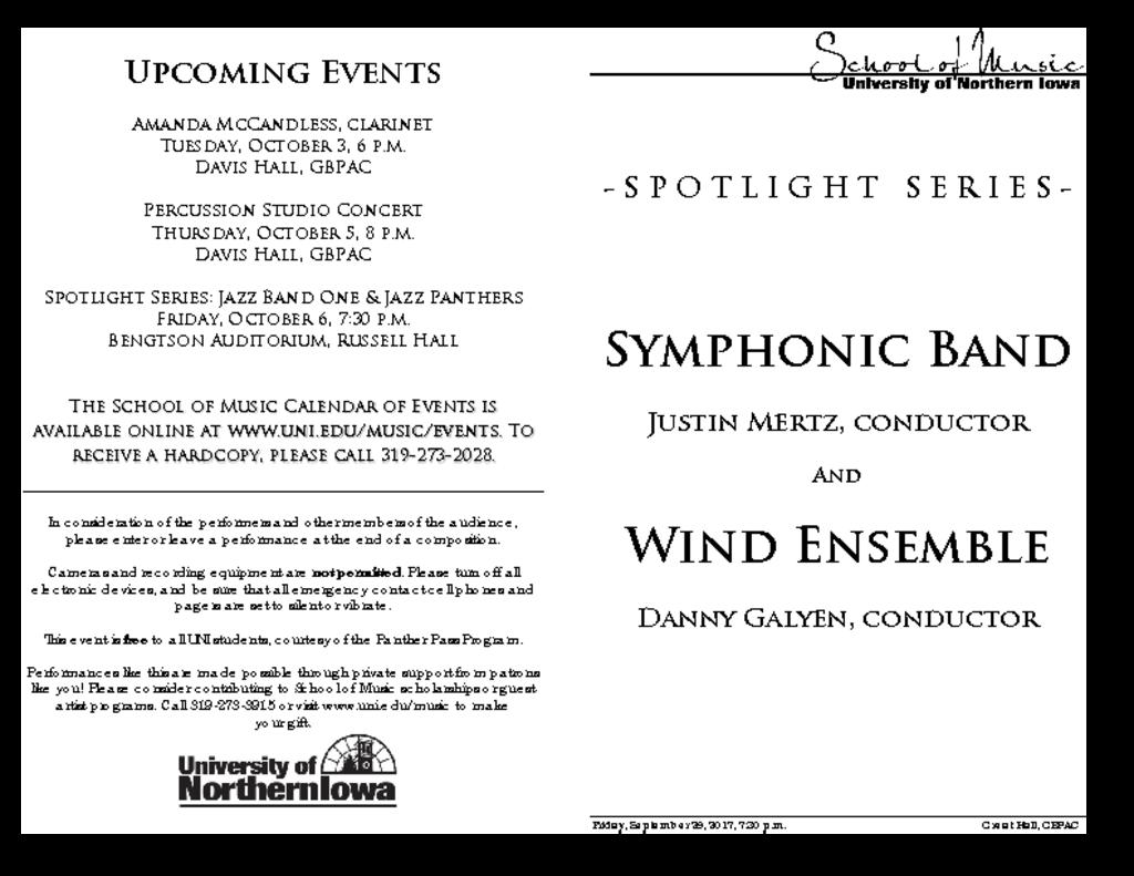 Wind Ensemble & Symphonic Band - September 29, 2017