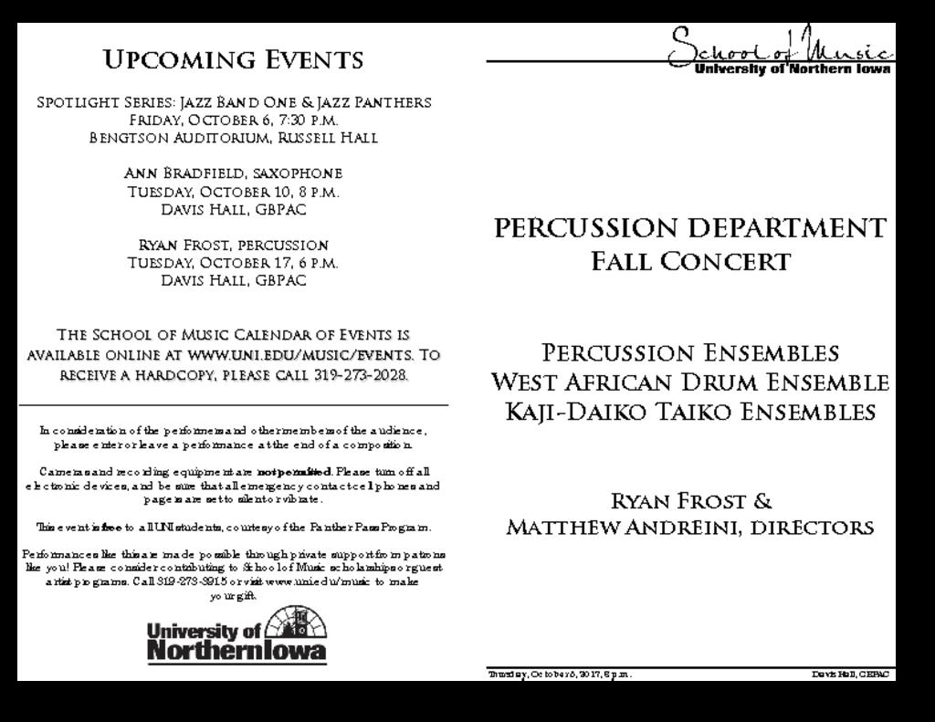 Percussion Studio Concert - October 5, 2017
