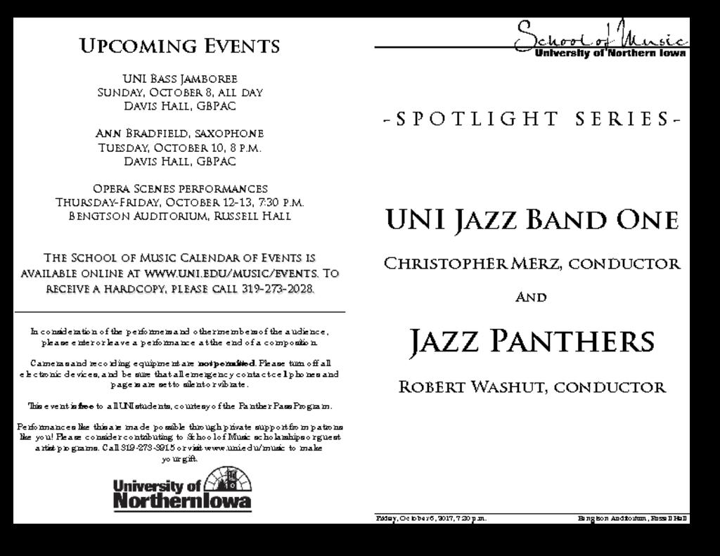 Jazz Band One & Jazz Panthers - October 6, 2017