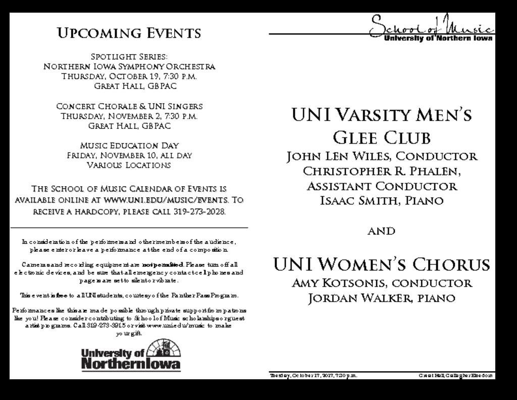 Women's Chorus & Varsity Men's Glee Club - October 17, 2017