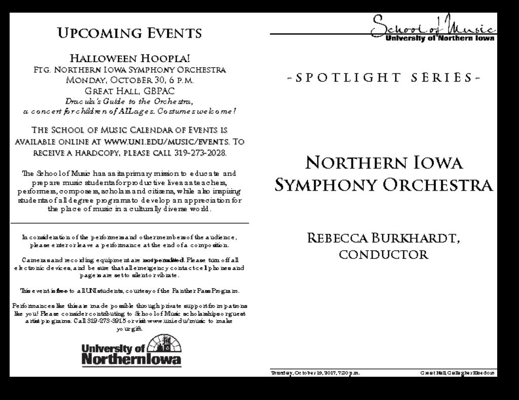 Northern Iowa Symphony Orchestra - October 19, 2017