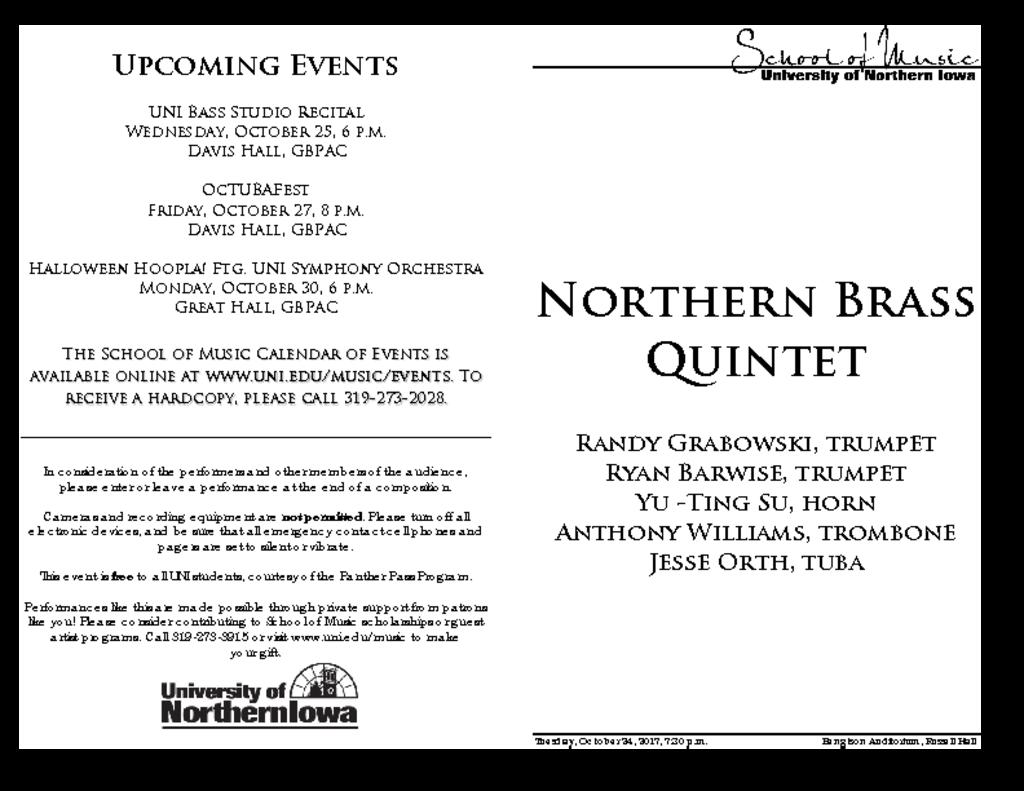 Northern Brass Quintet - October 24, 2017