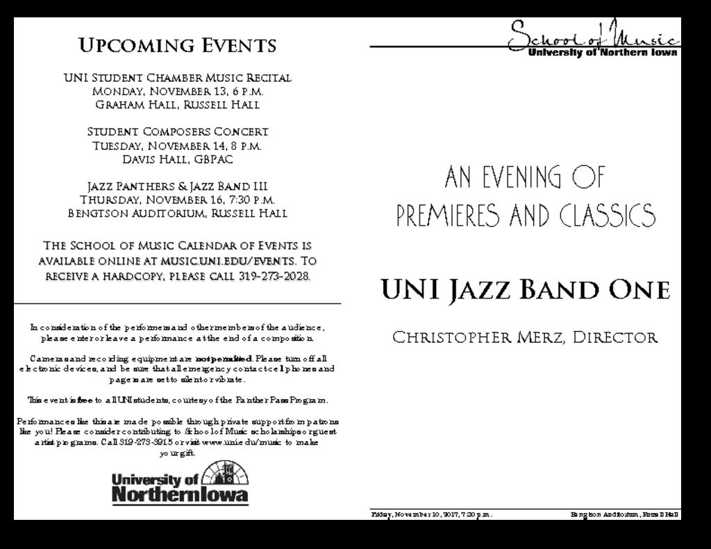 Jazz Band One - November 10, 2017