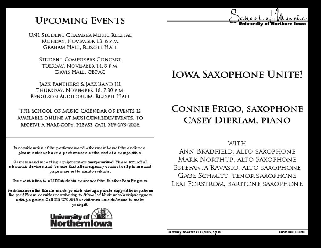 Iowa Saxophone Unite! - November 11, 2017