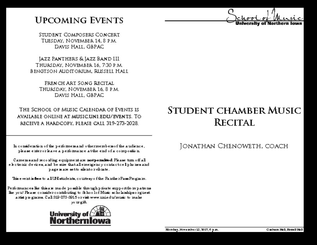 Student Chamber Music Recital - November 13, 2017