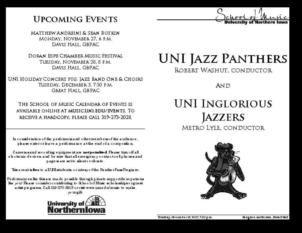 Jazz Panthers & Jazz Band III - November 16, 2017