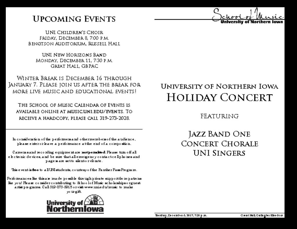 UNI Holiday Concert - December 5, 2017