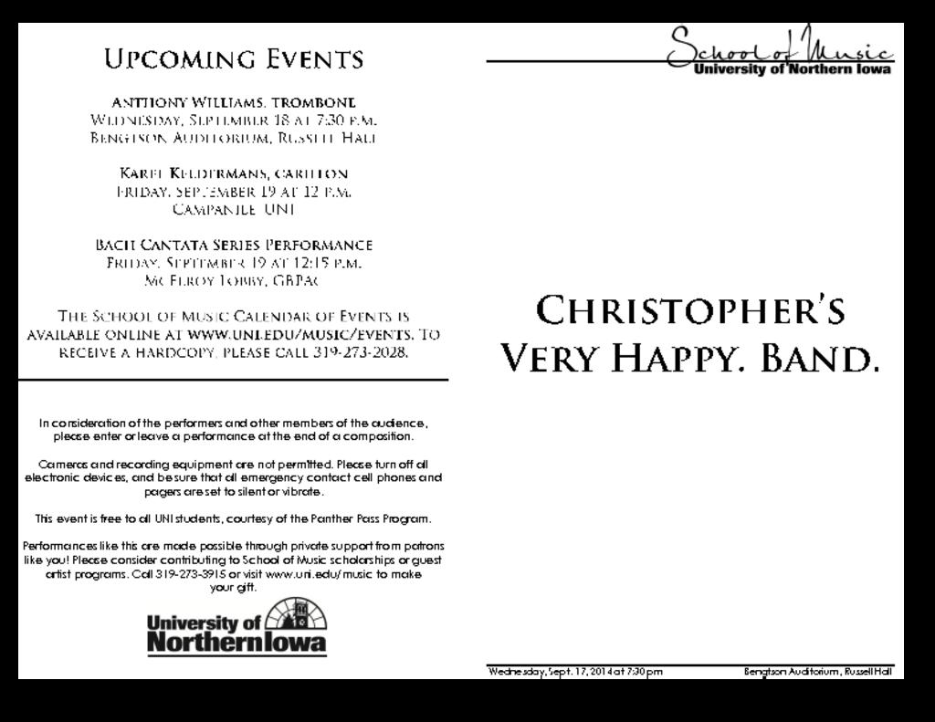 Christopher's Very Happy. Band - September 17, 2014