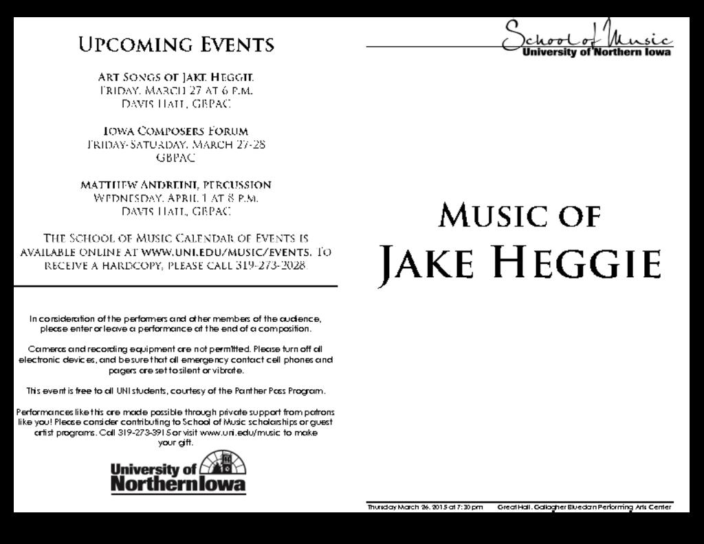 Works of Jake Heggie - March 26, 2015