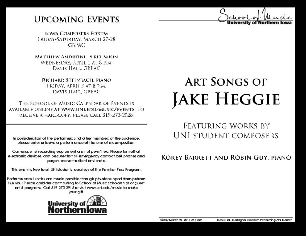 Art Songs of Jake Heggie - March 27, 2015