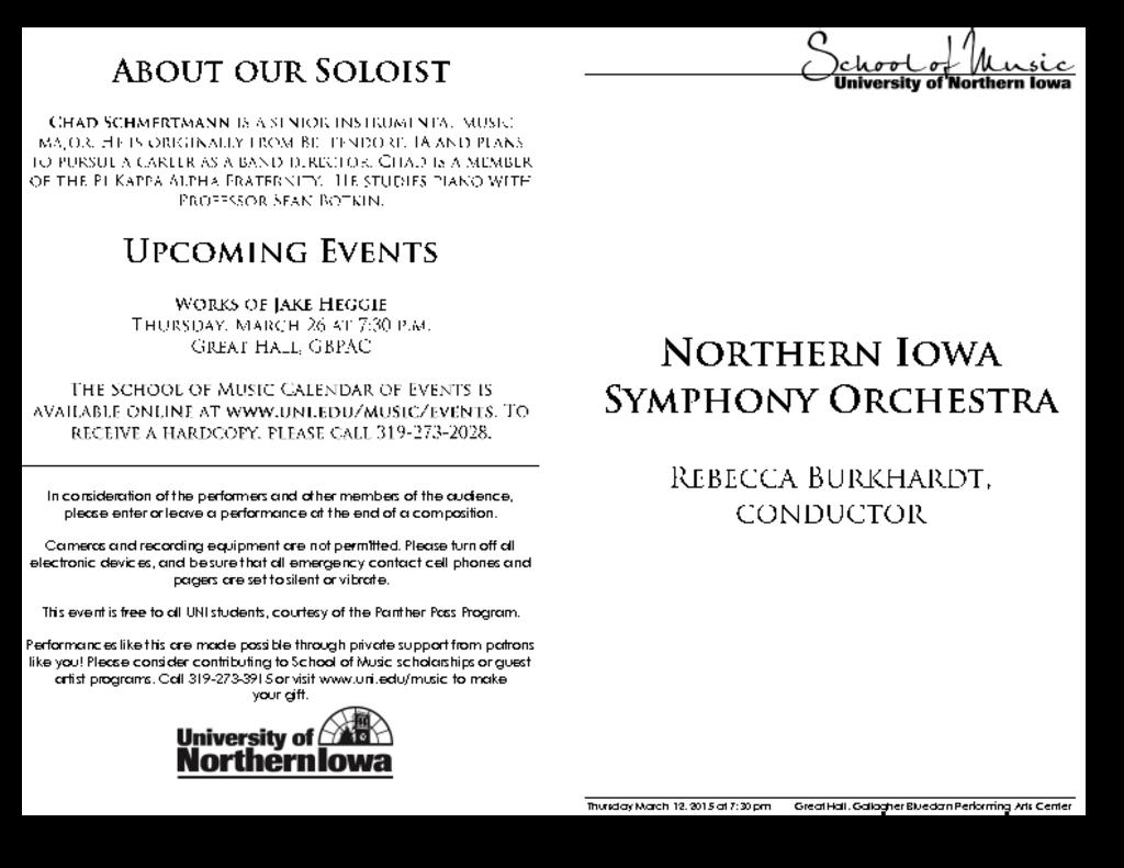 Northern Iowa Symphony Orchestra - March 12, 2015