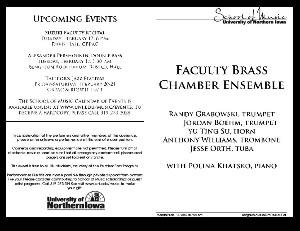 Faculty Brass Chamber Ensemble - February 16, 2015