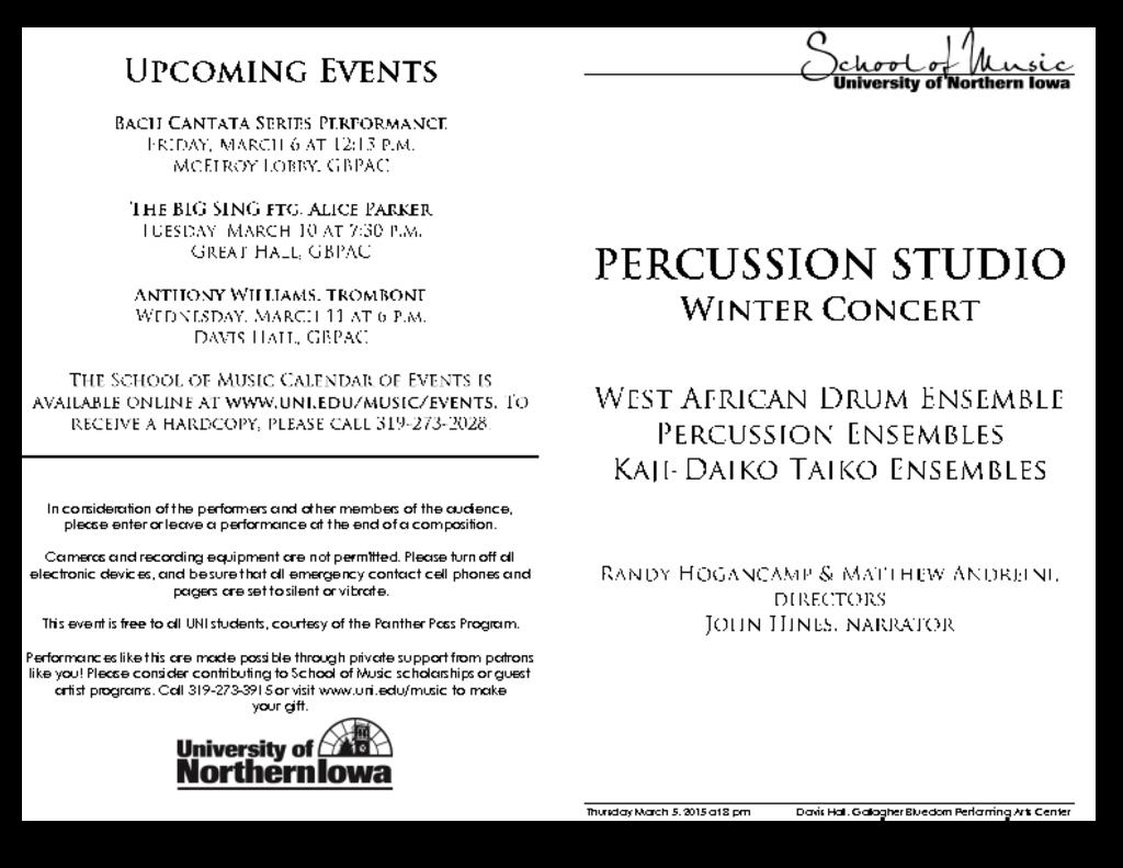 Percussion Department Concert - March 5, 2015
