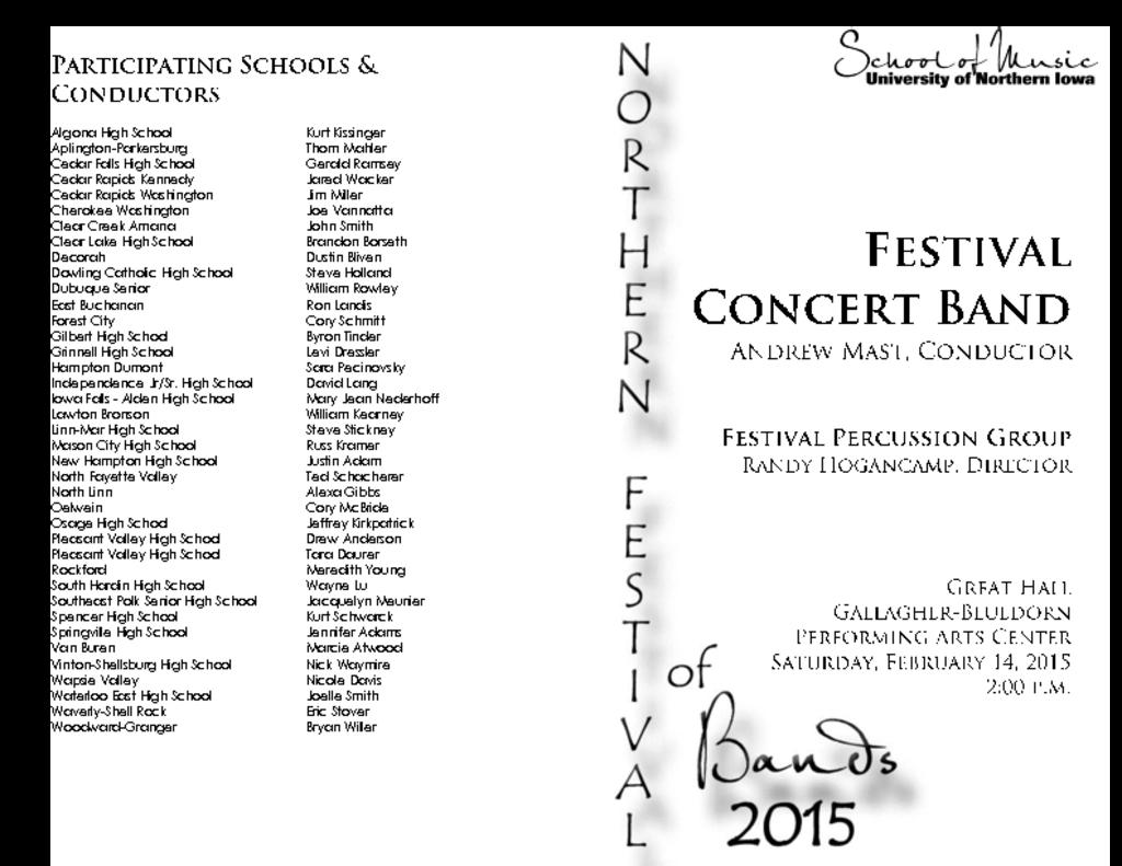 Northern Festival of Bands (#2) - February 14, 2015