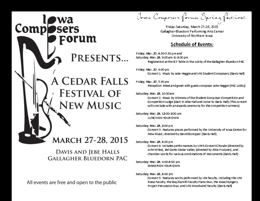 Iowa Composers Forum - March 27-28, 2015