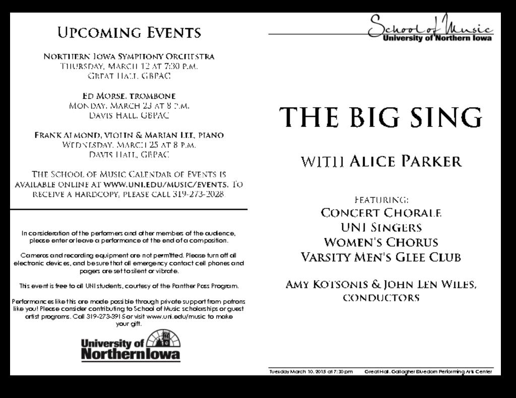 The BIG SING - March 10, 2015