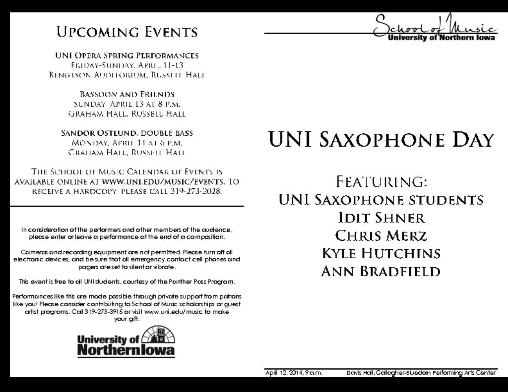 Saxophone Day - April 12, 2014