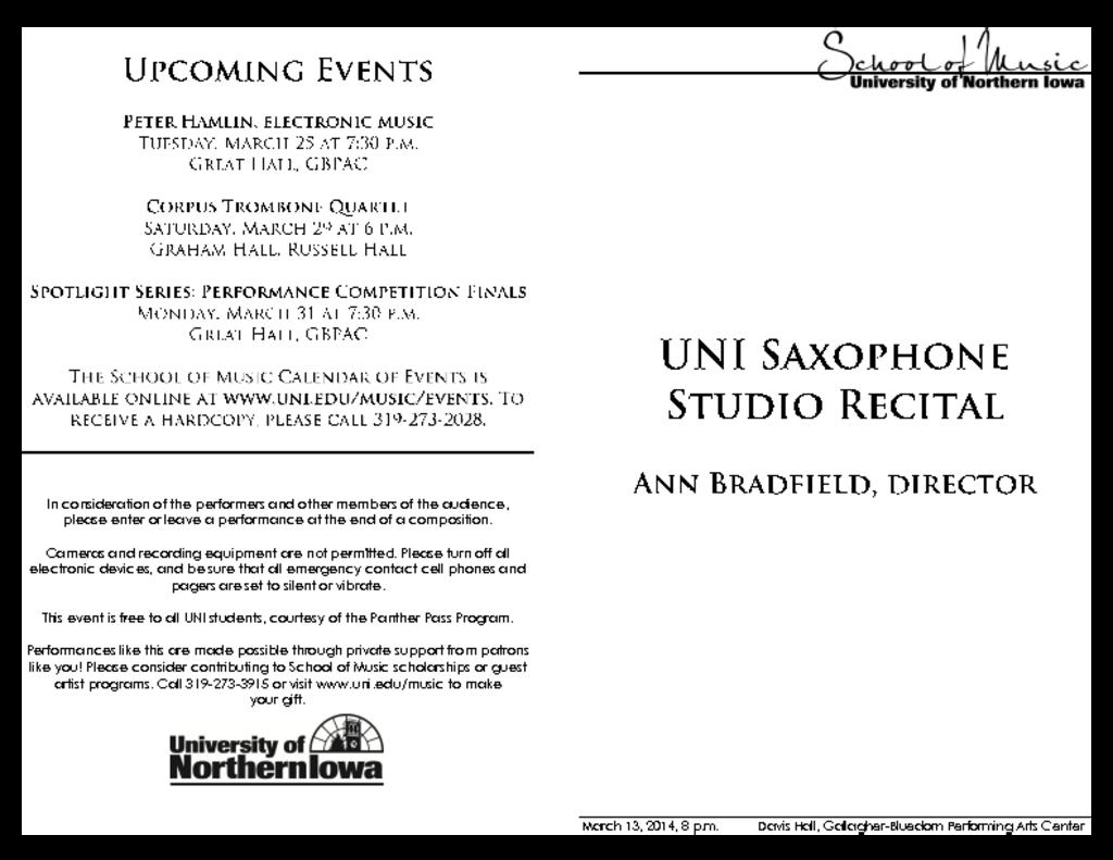 UNI Saxophone Studio Recital - March 13, 2014