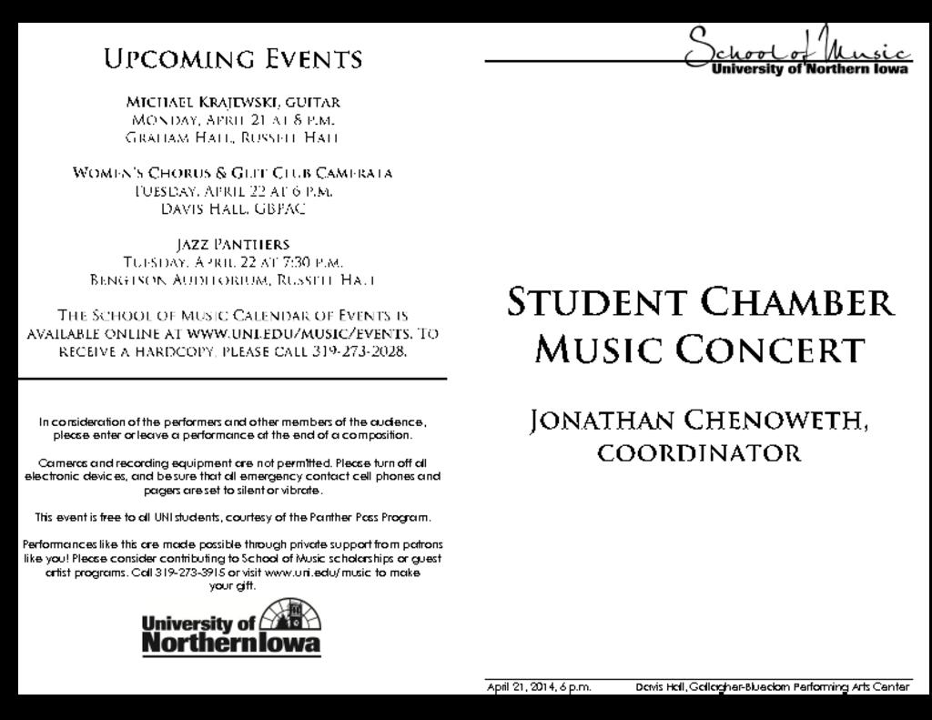 Student Chamber Music Recital - April 21, 2014