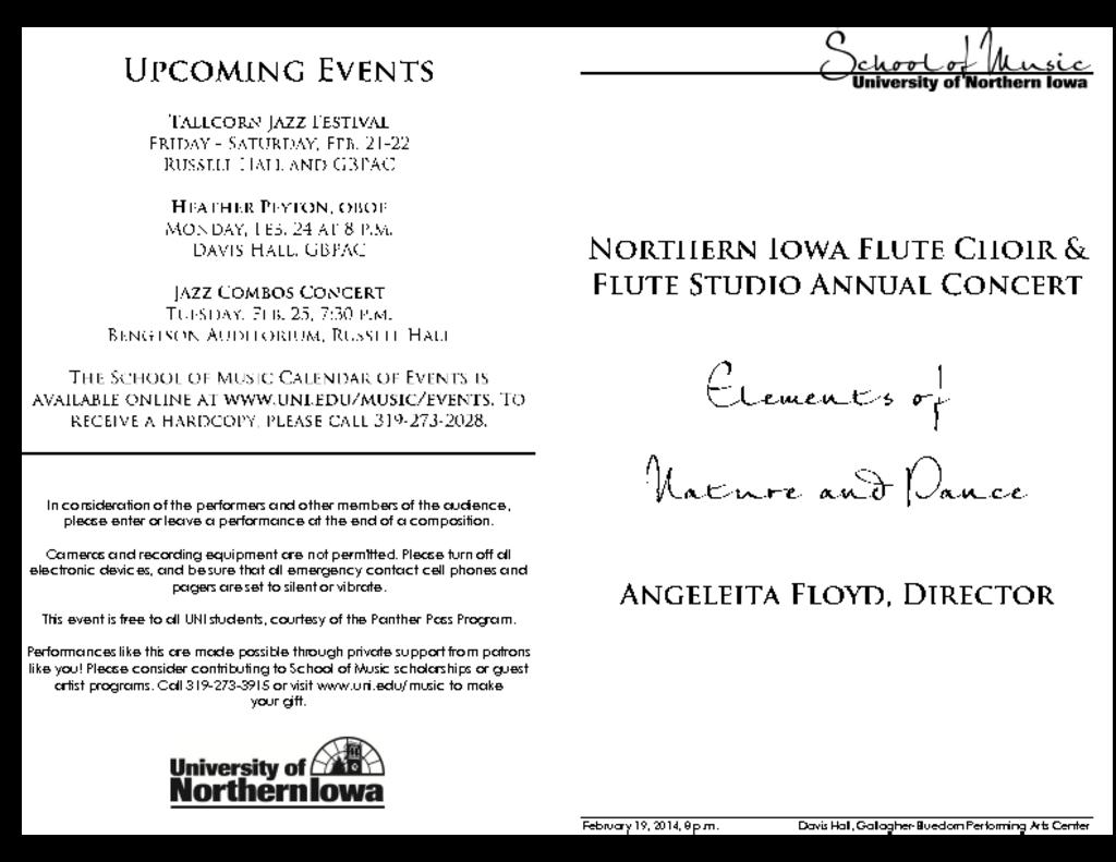 Northern Iowa Flute Studio & Flute Choir - February 19, 2014