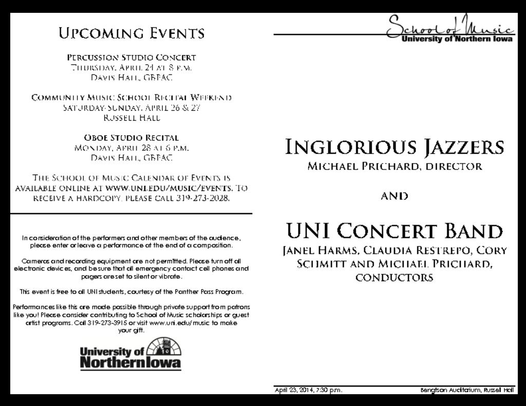 Jazz Band III & Concert Band - April 23, 2014