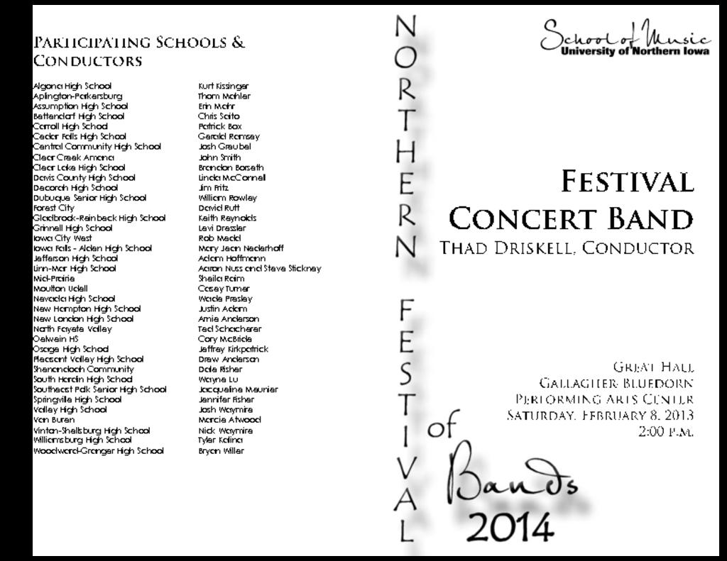 Northern Festival of Bands (#2) - February 8, 2014