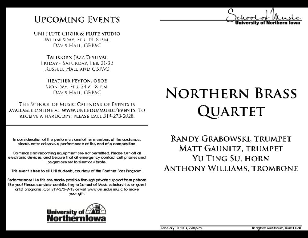 Northern Brass Quartet - February 18, 2014