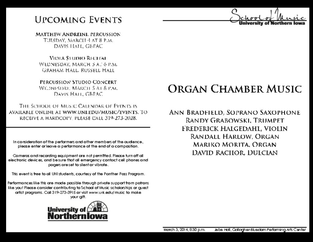 Organ Chamber Music - March 3, 2014