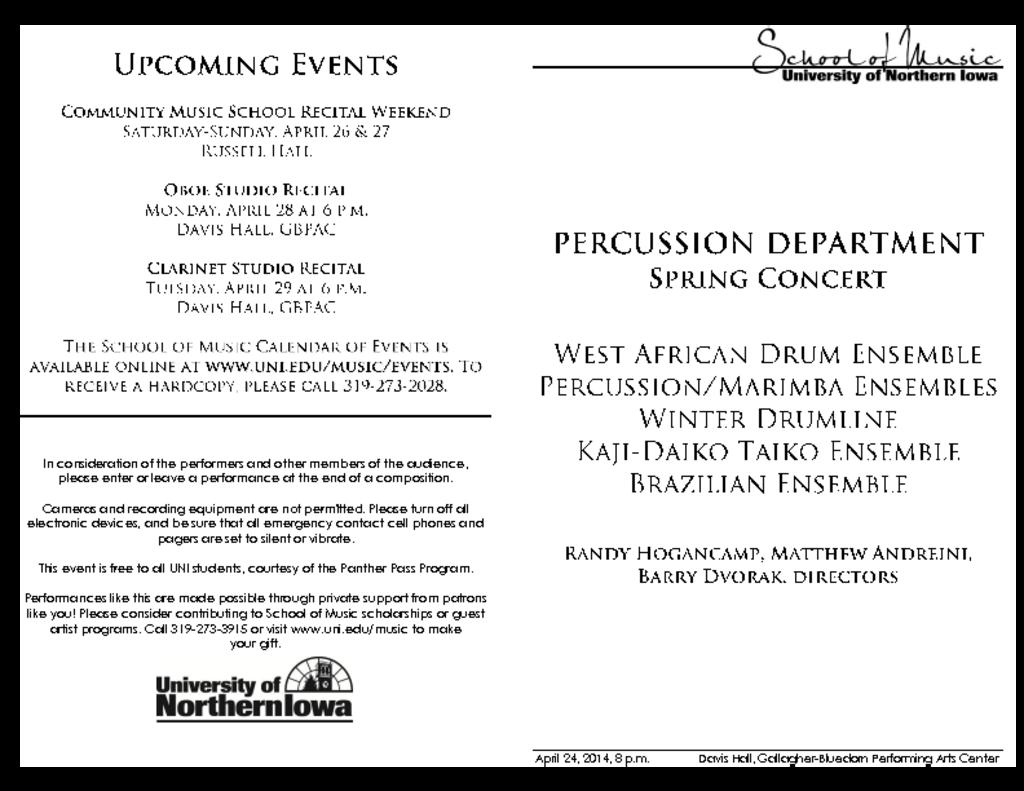 Percussion Department Concert - April 24, 2014