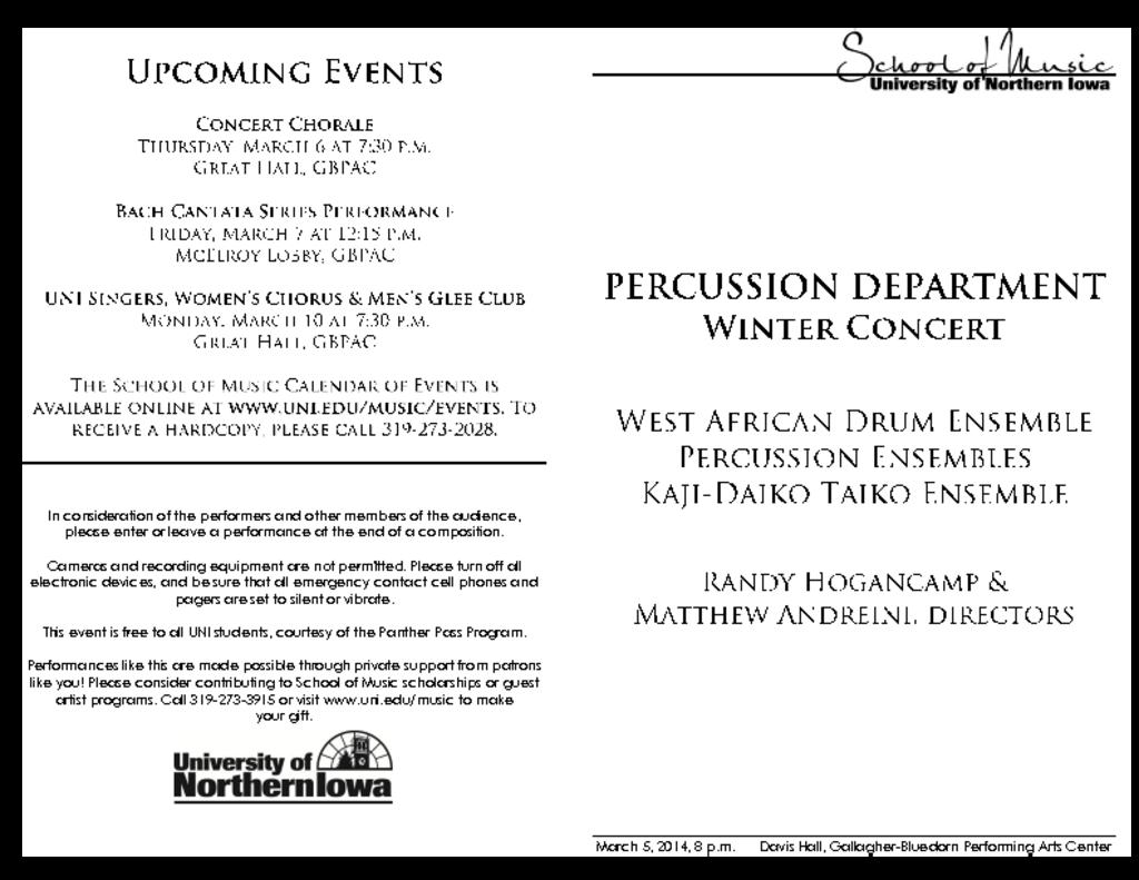 Percussion Department Concert - March 5, 2014