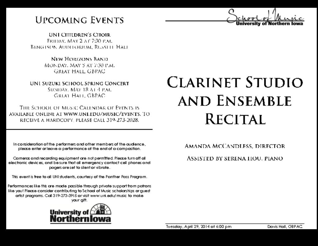 Clarinet Studio Recital - April 29, 2014