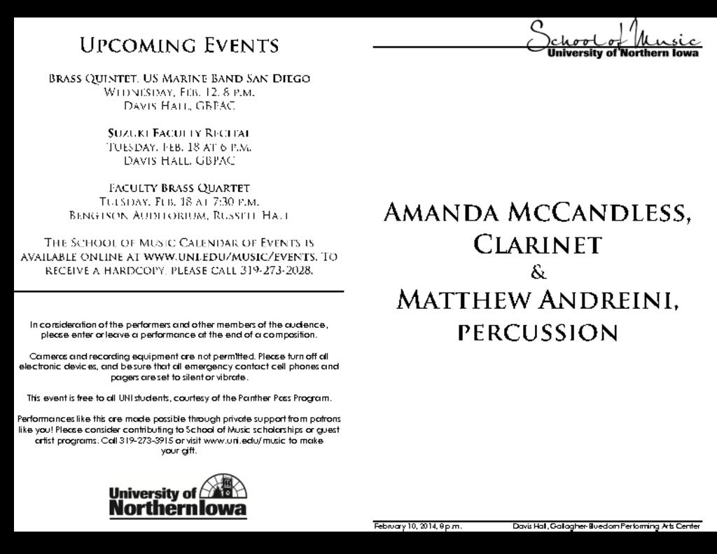 Amanda McCandless & Matthew Andreini - February 10, 2014