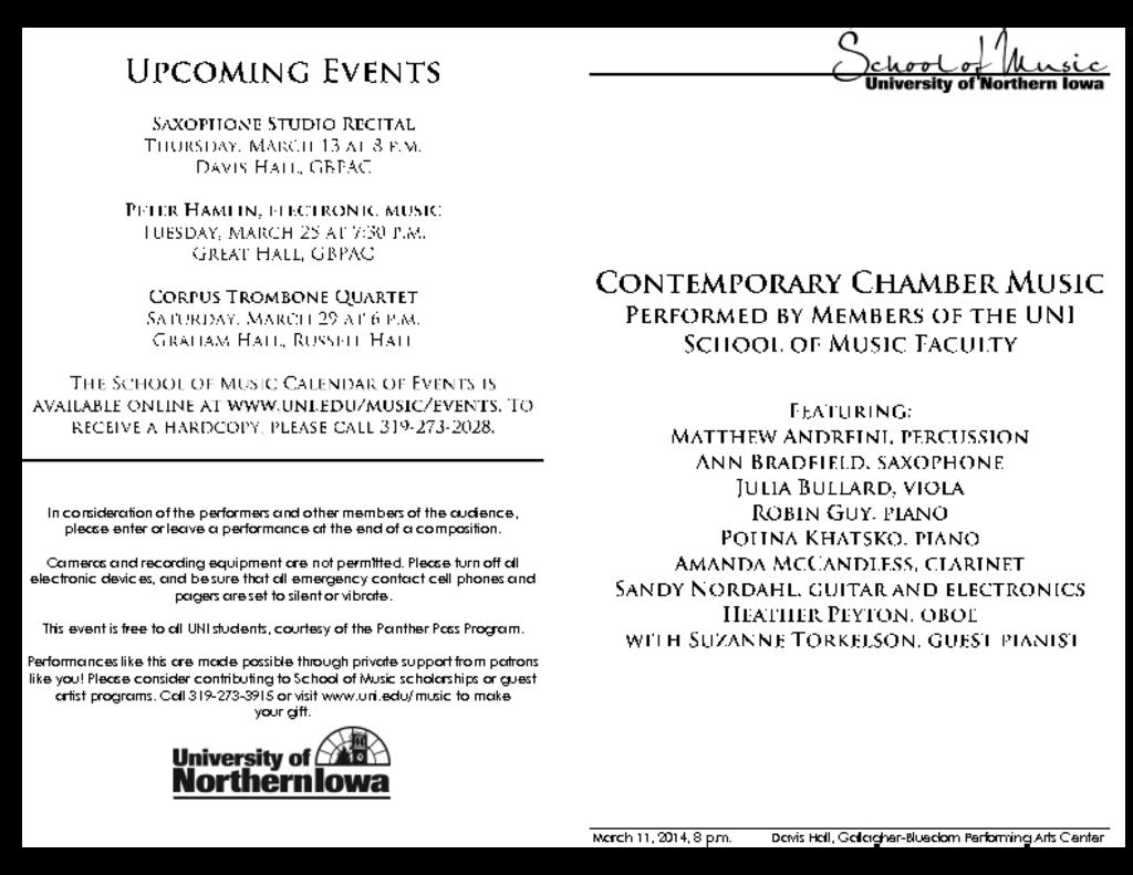 Contemporary Chamber Music - March 11, 2014