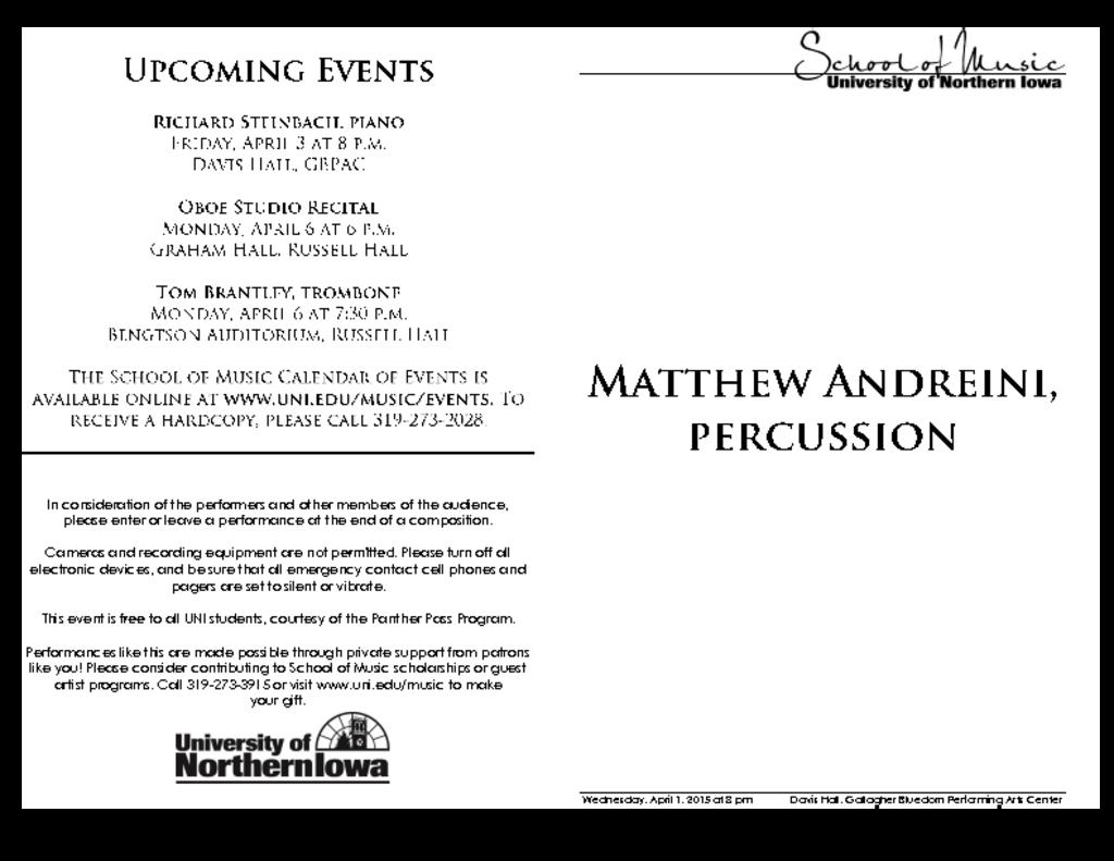 Matthew Andreini, percussion - April 1, 2015
