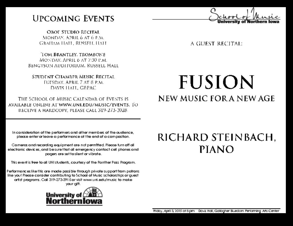 Richard Steinbach, piano - April 3, 2015
