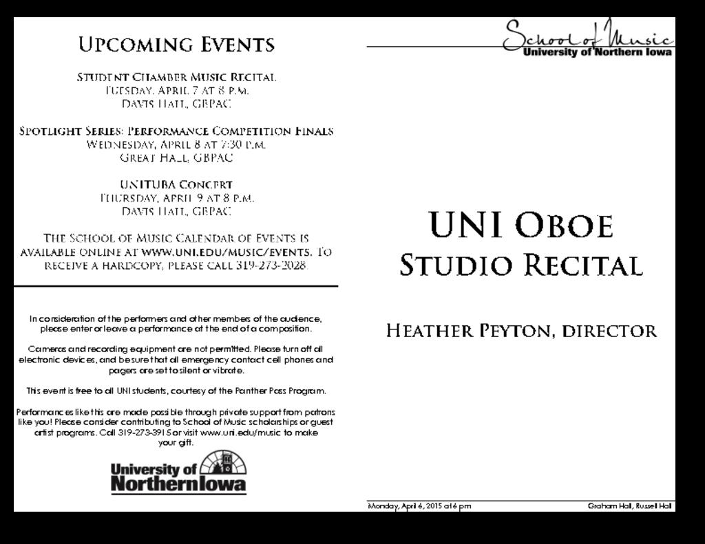 UNI Oboe Studio - April 6, 2015